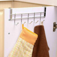 Stainless Steel Over the Door Hooks Dress Coat Rack Home Hanger Bathroom N9 P8H8