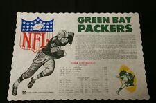 Vintage Green Bay Packers 1964 Schedule Restaurant Paper Placemat NFL