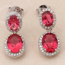 STUNNING 14K WHITE GOLD FILLED RED CRYSTAL/CZ STUD Earrings 22X9mm