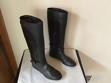 BURBERRY BLACK LEATHER KNEE BOOTS SIZE 36 ~ MADE IN ITALY