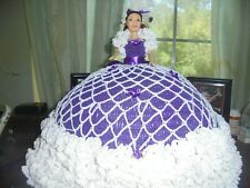 Crocheted Bed Doll (Purple w/ white ruffle )