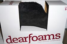 DEARFOAMS Women's Faux Fur Trim Slippers Solid BLACK Size S(5-6) New Boxed