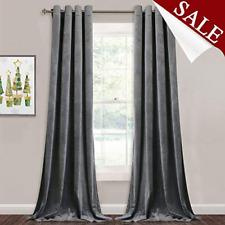 StangH Grey Velvet Curtains for Living Room - 96 inches Long Light Blocking for