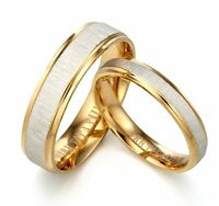 2 Pcs Unisex Mens Womens 18K Yellow Gold Wedding Plain Simple Promise Ring Band