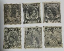 British Malaya -1 cent and  set of 6 different stamps KING & QUEEN  STAMPS # 326