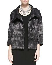 LARGE NWT Eileen Fisher Charcoal Grandeur Jacquard High Collar Blazer Jacket