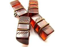 Vintage Retro Apple Juice Tortoise Shell BAKELITE Carved Toggle Buttons Lot of 4