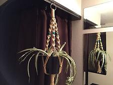 """Short Macrame Plant Hanger 30"""" SAND 3 Green beads"""