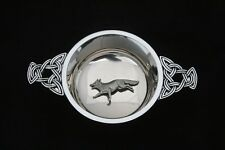 Fox Running Quaich Scottish Drinking Bowl Pewter Stainless Steel Christening 142
