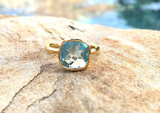 Aquamarine Hydro Quartz Square Stackable Ring Faceted Vermeil Gold Ring Size 9