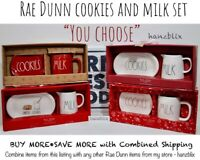 "Rae Dunn COOKIES and MILK Set Plate Mug Pitcher Christmas Ceramic ""U CHOOSE""''19"