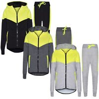 Boys Skinny Slim Fit Kids V NEON PANEL Hoodie Tracksuit Fleece Jogging Bottom