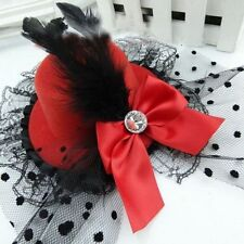 Burlesque Red Mini Top Hat with Bow Diamonte, Feather & Lace - Aussie Seller