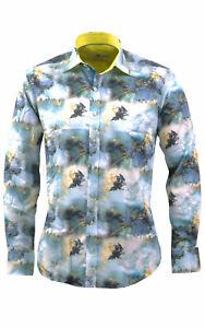 Mens Claudio Lugli Couture Bird Of Prey Print Shirt CP6528 Sky