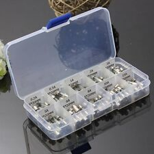 100 Pcs Electrical Amp Fast-blow Circuits Glass Fuse Box Set 0.2A-15A 5 x 20mm