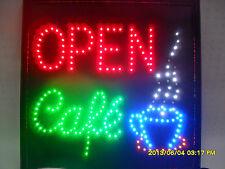 """FLASHING LED SIGN """"OPEN CAFE"""" LARGE SIZE: 48CM X 48CM"""