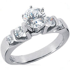 1.02 ct 5 stone Round Cut Diamond Band Ring 14k White Gold, D Si2 1.46 tcw
