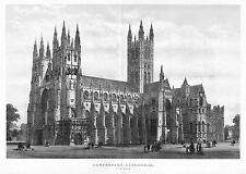 CANTERBURY CATHEDRAL IN 1883, ANTIQUE ARCHITECTURE, CANTERBURY CATHEDRAL HISTORY