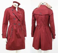 BURBERRY Brit Red Lightweight Trench Coat Nova Check Collar Size UK 8 US 6 / S