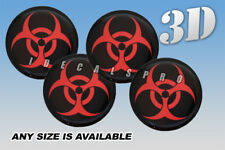 BIOHAZARD domed wheel center cap decals emblems stickers 4 pcs ~ ANY SIZE ~ r/b
