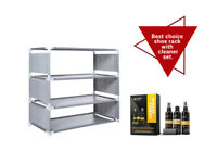4 Tier Shoe Rack Organizer Whit Shoe Cleaner Set