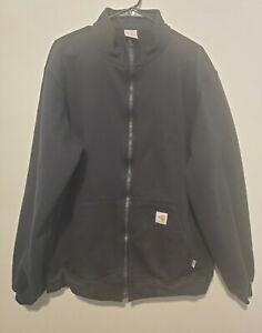 Carhartt Men's FR Flame Resistant Full Zip Jacket Size Large Tall Black Logo