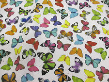 Multicolour Butterfly Printed 100% Cotton Fabric. 150cm wide