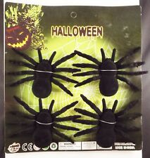 1 Card of 4 Black Spider Halloween Decoration New