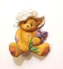 Sweet Teddy Bear Wearing Polka Dot Mob Cap Holding Purple Iris Brooch Pin Resin