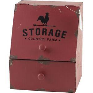 Rustic Farmhouse Counter Bin Drawer Storage Rooster Hen Chicken Red Primitive