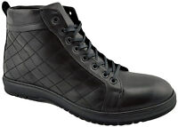 $200 REACTOR Black Calf Leather QUILTED Ankle Boots Men Shoes