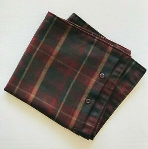 Ralph Lauren Great Barrington Plaid 100% Wool Pillow Sham Button Closure ~ MINT