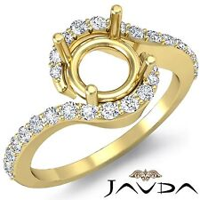 Semi Mount 18k Yellow Gold 0.35Ct Curve Shank Round Diamond Engagement Halo Ring