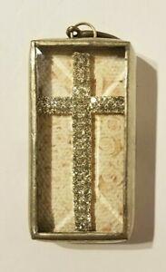 Beautiful Jewel Kade Dbl. Sided Charm. Rhinestone Cross & Faith Saying Quote EUC