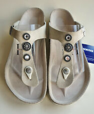 BIRKENSTOCK Leather Sandals GIZEH Crystal studded Cream-beige US9 EU40 UK7 R