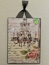 French Paris Chandelier & Pink Rose Plaque Wall Decor Cottage Chic