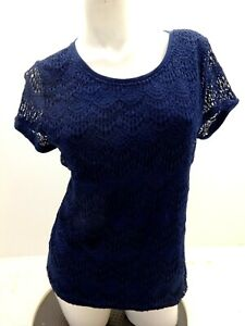 89TH & MADISON WOMEN'S NAVY BLUE LACE TOP SIZE XL
