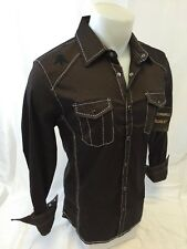 Mens ROAR Long Sleeve Shirt Size MEDIUM BROWN WHITE Stitch SOLIDARITY WESTERN