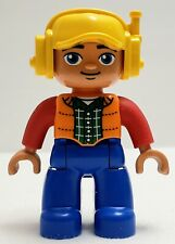 Lego Duplo Male Figure Blue Legs Orange Vest Yellow Cap with Headset 47394pb231