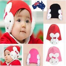 Cute Rabbit Earmuffs Winter Autumn Warm Baby or Girl Beanie Knitted Hat Cap