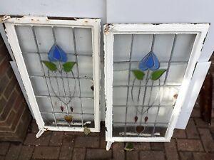 "Vintage old Antique Art Nouveau Stained glass Crittal Windows 36.5""x20"" pair (2)"