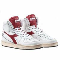 Diadora Heritage Scarpa Sneaker Unisex MI BASKET USED Bianco-Rosso Brick