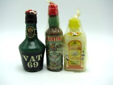 Martini Gordons Gin Vat 69 Liquor Bottle Candles Vintage
