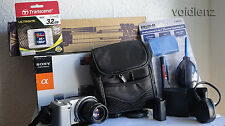 SONY α (alpha) NEX-5 DIGITAL CAMERA 14.2 MP HD 1080P 35mm & F1.7 Lens + Extras