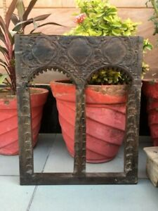Antique Old Wooden Handcrafted Floral Design Carved Window Wall Hanging Decor