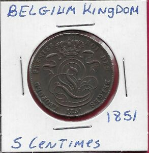 BELGIUM KINGDOM 5 CENTIMES 1851 LEOPOLD I,CROWNED MONOGRAM,LION WITH TABLET,L,,U