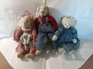 "3 Vintage Handmade Folk Art Bunny Rabbit Doll 18"" Tall Dressed  plush toy"