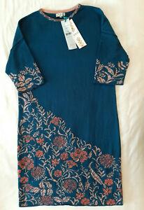 IVKO Kleid Strickkleid Floral Intarsia Pattern adria Blau Rosa Wolle 38 M NEU