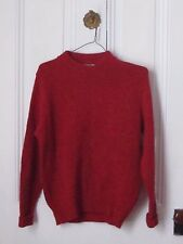 Womens Vintage LL Bean IRELAND Spun Shetland Wool Red Sweater Sz L