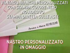 50 VENTAGLI BIANCHI PERSONALIZZATI MATRIMONIO COLORE NERO + OMAGGIO